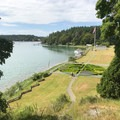 View of the English Camp parade ground from Officers' Hill.- San Juan Island National Historical Park