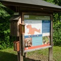 The information kiosk tells about history and the Columbia Land Trust, which owns and maintains the preserve.- High Falls Conservation Area