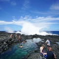 Big swell occasionally inundates the tide pools.- Makapu'u Tide Pools
