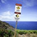 A warning sign marks the start of the steep trail.- Makapu'u Tide Pools