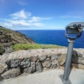 The trailhead is located off the road to the right, after the whale lookout binoculars.- Makapu'u Tide Pools