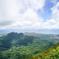 Summit view of the windward side, with Olomana (three peaks) and Kailua.- Ka'au Crater Hike