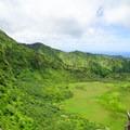 Descending the far ridge along the crater rim.- Ka'au Crater Hike