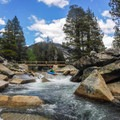 Lost Valley of the Merced. A footbridge at the end of this valley marks the start of the most difficult and longest gorge.- Upper Merced River: Headwaters to Little Yosemite Valley