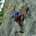 Easy-access anchor points for top-rope routes.- Devil's Backbone