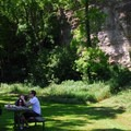 Picnic tables and grills are located nearby.- Devil's Backbone
