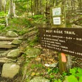 The West Ridge Trail leaves from the picnic area.- Cardigan Mountain State Park