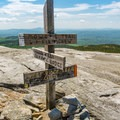 A junction near the summit of Mount Cardigan.- Cardigan Mountain State Park