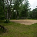 The volleyball court.- Fish Creek Pond Campground