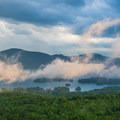 Fog lifting after a summer storm.- The Pinnacle