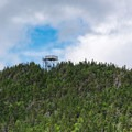 The observation tower on the Carrigain summit from the ridge.- Mount Carrigain via Signal Ridge