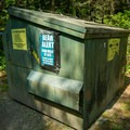 A typical bear-resistant refuse container.- Sugarloaf 2 Campground