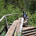 One bridge crossing is more technical than others.- Crater Lake via Cascade Creek