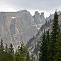 Looking south toward Apache Peak and neighboring crags.- Crater Lake via Cascade Creek