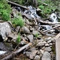 Labyrinth of cascading waterfalls criss-cross the trail.- Crater Lake via Cascade Creek