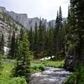 The origin of Cascade Creek and Apache Peak in the background.- Crater Lake via Cascade Creek