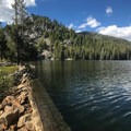 Boulder Lake with Boulder Mountain above.- Boulder Lake