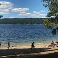 One of many buoyed swim areas on Payette Lake.- Ponderosa State Park