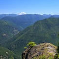 Close-up view of Mount Jefferson and all the mountainous peaks in the expanse from the lookout site.- Henline Mountain