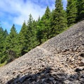 Crossing the first scree slope rockslide.- Henline Mountain