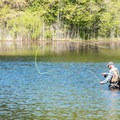 A fisherman at the north end of the pond.- Schreeder Pond