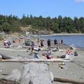 Families enjoying the beach at the Esquimalt Lagoon Migratory Bird Sanctuary.- Esquimalt Lagoon Migratory Bird Sanctuary