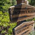 Trail signage.- San Bernardino Peak via Angelus Oaks