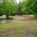 Sites are open and come with a fireplace and picnic table.- Wilmington Notch Campground