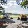 Waterfront camping.- Jane's Island State Park Campground