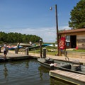 The park marina, where boats can be rented.- Jane's Island State Park