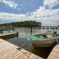 A boat docked at the marina.- Jane's Island State Park