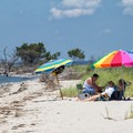 A family relaxes in the shade of their umbrella.- Jane's Island State Park