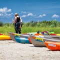 A kayaker prepares for the trip back.- Jane's Island State Park
