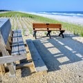 Relax on the benches at the top of the shoreline.- Long Beach Island Beaches