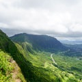 Views of Lanihuli (left), Haiku (center) in the clouds, the H3 highway and Ho'omaluhia Botanical Gardens.- Pali Puka