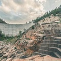 The 160-foot dam and its strangely shaped spillway.- C.C. Cragin Reservoir