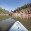 A kayak view of the boat ramp. No swimming within 50 feet of the boat ramp.- C.C. Cragin Reservoir