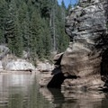 Sandstone cliffs line the reservoir and make for some great cliff jumping.- C.C. Cragin Reservoir