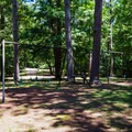 Swing set near cabin area.- Wall Doxey State Park Campground
