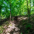 Stairs leading to the highest point in the park.- Wall Doxey State Park Campground