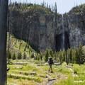 Hiking to the base of Fairy Falls.- Fairy Falls via Freight Road Trailhead