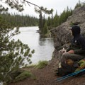 Taking a break on the Lewis River Channel.- Lewis Lake to Shoshone Lake Loop