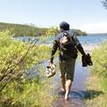 Exploring the shores of Shoshone Lake.- Lewis Lake to Shoshone Lake Loop