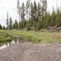 A small creek crossing before reaching Lewis Lake.- Lewis Lake to Shoshone Lake Loop