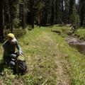 Taking a break on the Dogshead Trail.- Lewis Lake to Shoshone Lake Loop