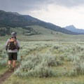 Crossing the Lamar Valley.- Specimen Ridge Trail