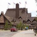 Looking at the rear entrance of the inn.- Old Faithful Inn
