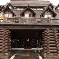 The front of the inn.- Old Faithful Inn