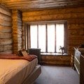 Some rooms have a view of the Old Faithful Geyser.- Old Faithful Inn