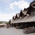 The veiwing deck on the second story of the inn.- Old Faithful Inn